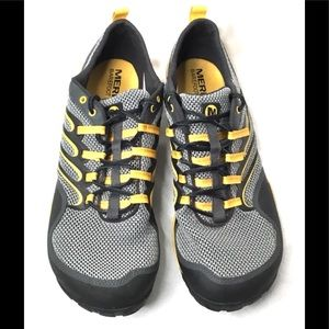 Merrell Mens Trail Glove Gray/Yellow Shoes Size 12
